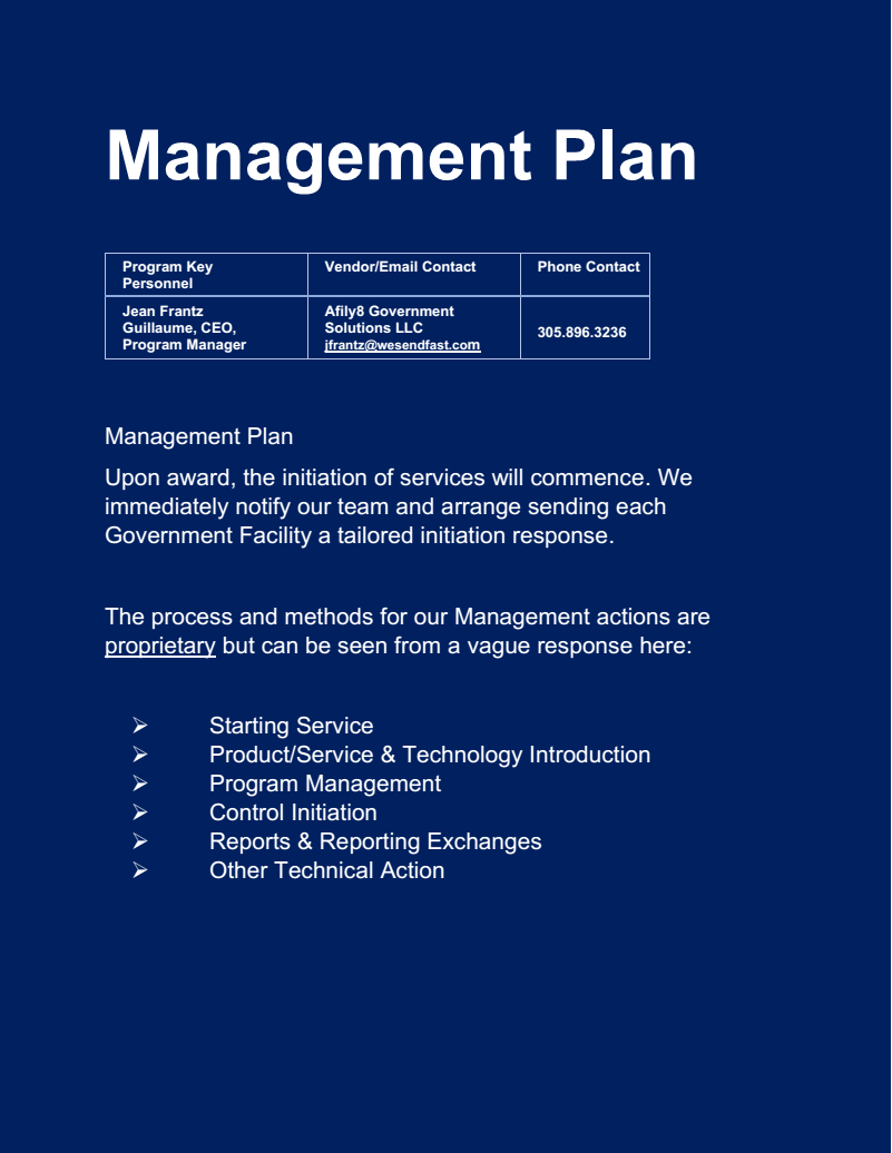 Afily8 Management Plan